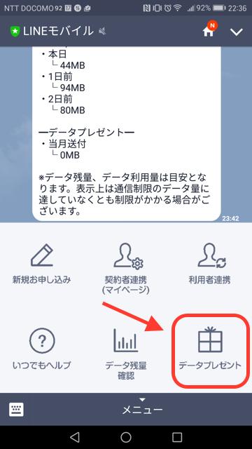 LINEモバイル データプレゼント