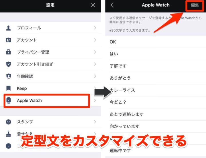 Apple Watch LINEアプリ よく送信するテキストを定型文として登録しておける