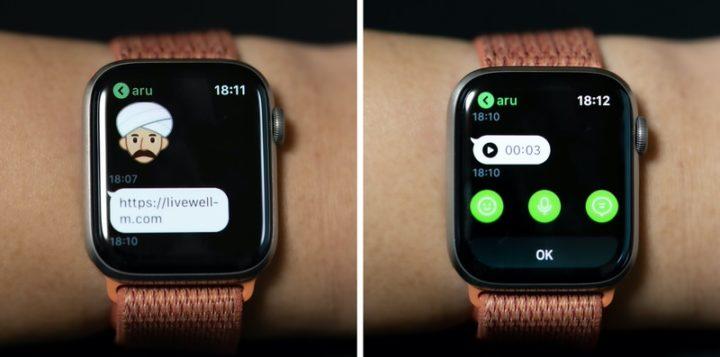 LINEアプリ リンクはテキストでの表示のみ ボイスメモはApple Watch上で再生できた