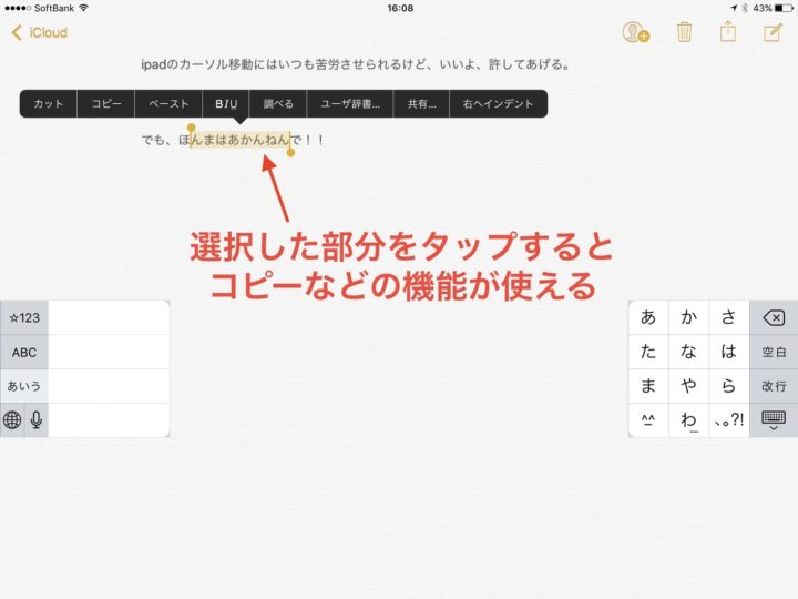 快適にiPadでテキスト選択する方法03