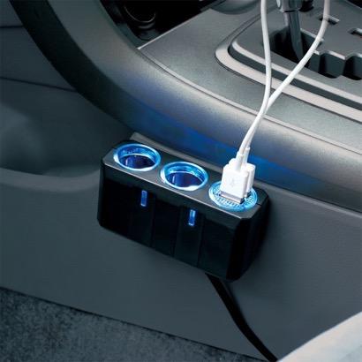 高出力USB端子(2.4A×2)が付いたツインソケット