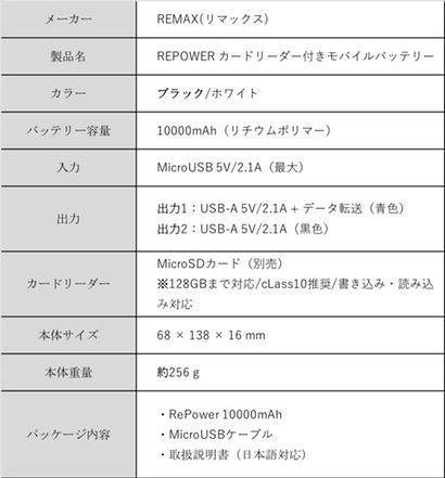 REMAX(リマックス) RePower 10000mAhのスペック表