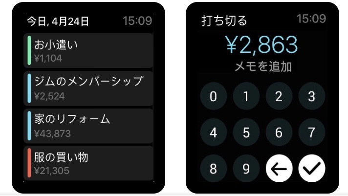 Pennies|Apple Watchで収支を入力