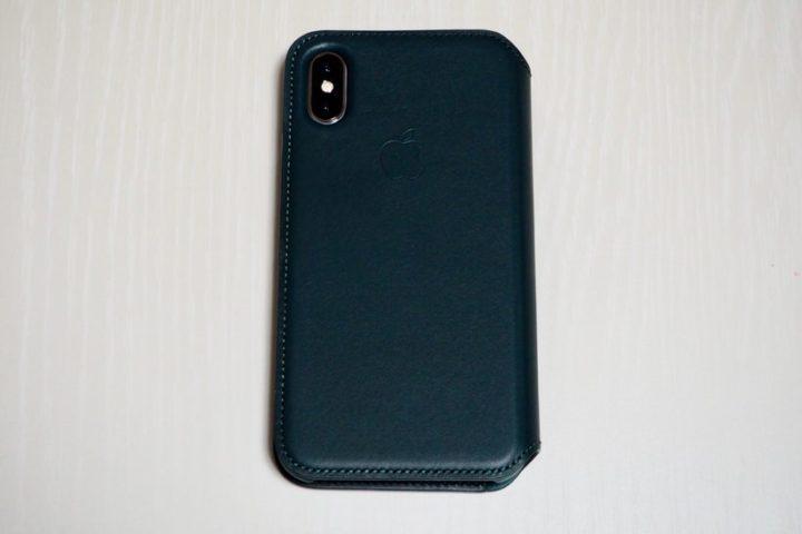 Apple純正「iPhone XSレザーフォリオ(フォレストグリーン)」