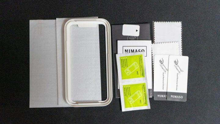 Nimaso ガラスフィルム ガラスフィルム/ガイド枠/ウェットシート/クロス/ホコリ取りシール/ヘラがパッケージ