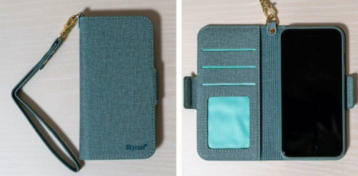 iPhone SE 【Skycase】ストラップ付き 収納機能充実の手帳型ケース
