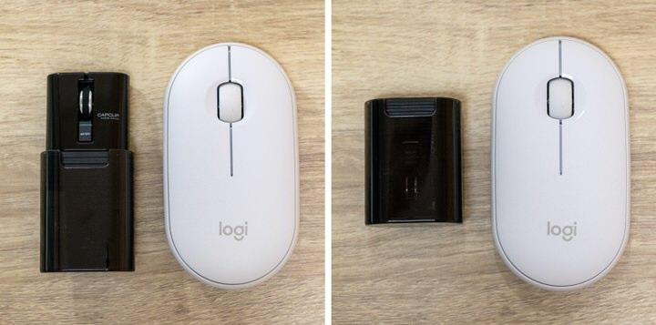 【エレコム】CAPCLIP クリップタイプの小型マウスの展開時と収納時