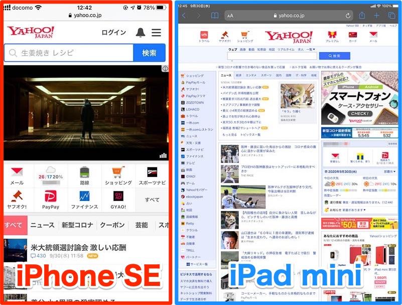 iPhone SEとiPad miniの表示領域の比較