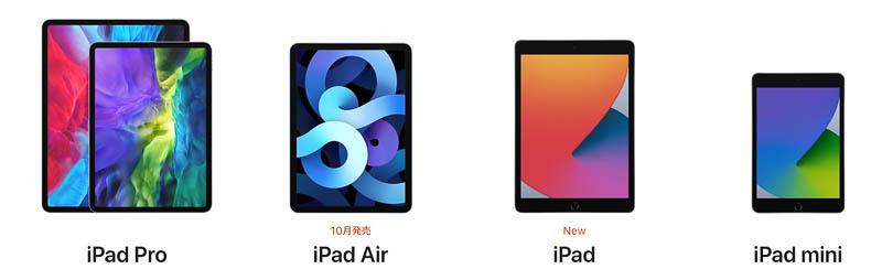 iPadをディスプレイのサイズで選ぶ