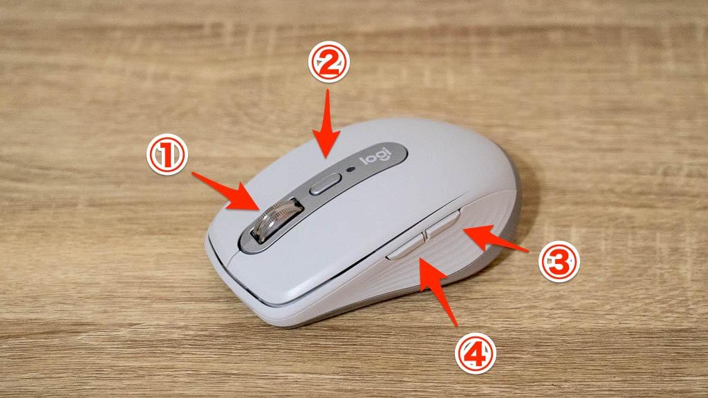 MX Anywhere 3の各ボタン