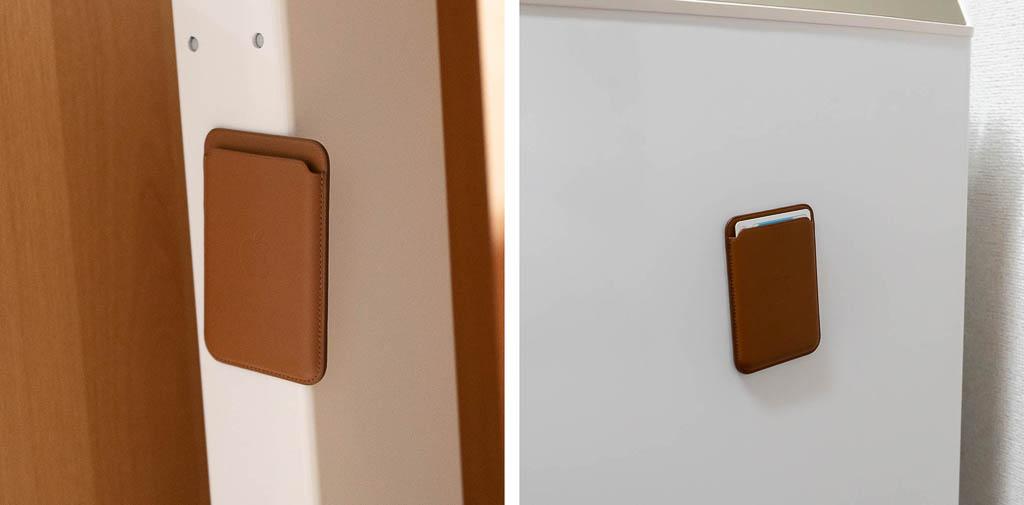 MagSafe対応レザーウォレットを貼り付ける