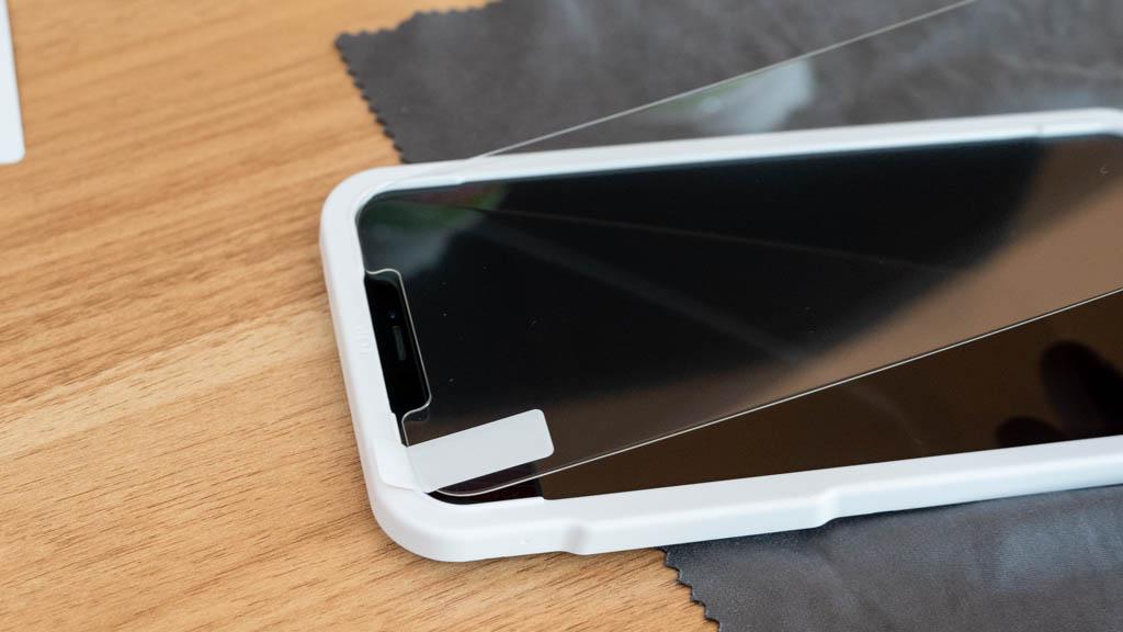 【NIMASO】ガイド枠付きガラスフィルム(グレアタイプ)iPhone 12 Pro Max 4