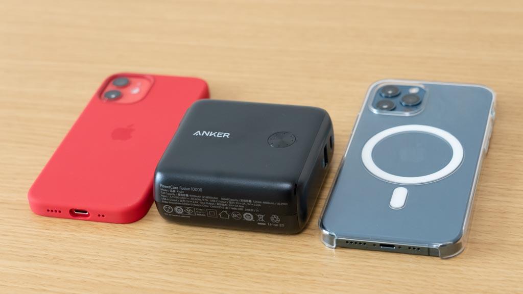 Anker PowerCore Fusion 10000 iPhoneとのサイズ比較