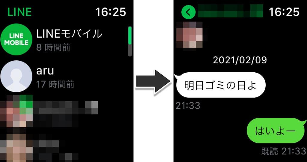 Apple Watch LINEアプリでメッセージを確認