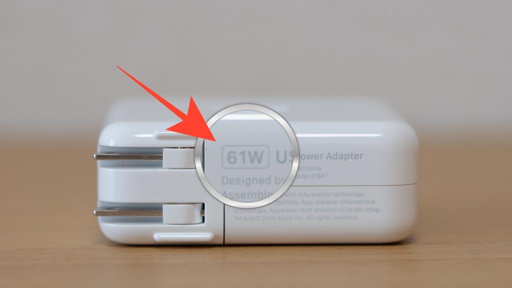 MacBook付属充電器のワット数をチェック
