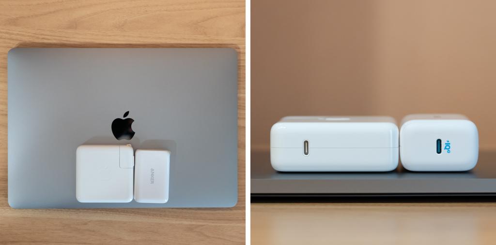 nker PowerPort III 65W PodとApple 61W充電のサイズ比較