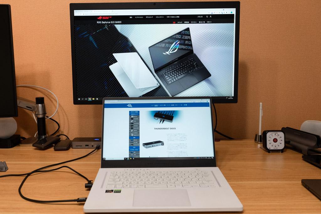 ASUSのゲーミングパソコンにThunderbolt 4ドックを接続
