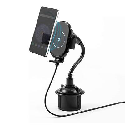 サンワダイレクト カップホルダー固定式 Qiワイヤレス充電対応車載ホルダー iPhone ワイヤレス充電器